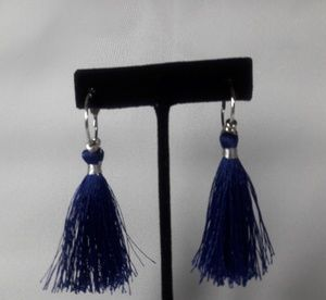 Silver Hoop Royal Blue Earrings